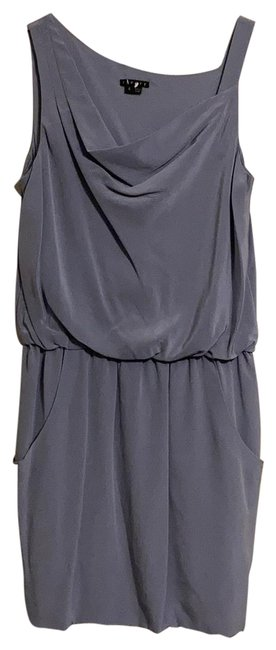 Item - Greyish Blue Silk with Pockets and Waterfall Detail On Neckline Mid-length Cocktail Dress Size 6 (S)