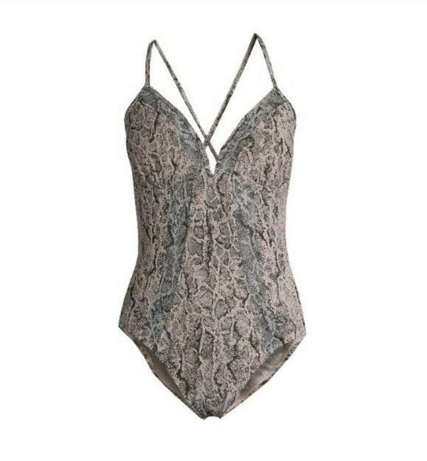 Item - Gray Snakeprint Snake Animal Print Plunge High Leg One-piece Bathing Suit Size 12 (L)