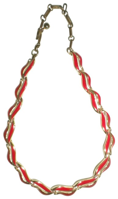 """Item - Gold/Red Vintage Red/Gold 16"""" Women Necklace"""