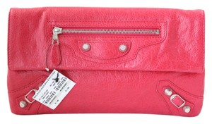 Balenciaga Leather Metallic Pink Clutch