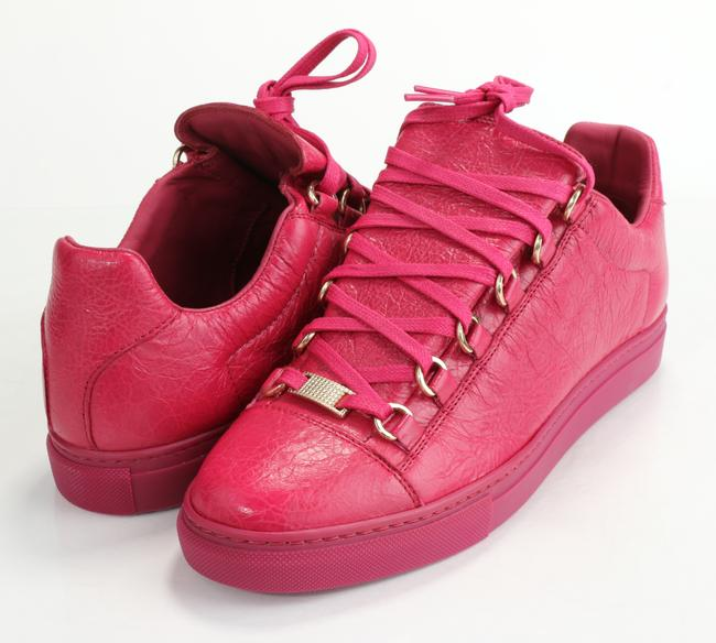 Item - Pink Men's Arena Leather Low-top Sneakers Shoes