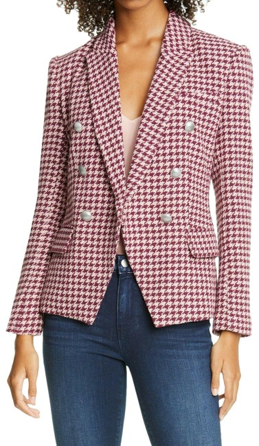 L'AGENCE Red Kenzie Double Breasted Houndstooth Tweed Violet Magenta Blazer Size 4 (S) L'AGENCE Red Kenzie Double Breasted Houndstooth Tweed Violet Magenta Blazer Size 4 (S) Image 1