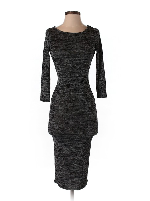 Item - Gray Bodycon Midi Calf Mid-length Cocktail Dress Size 4 (S)