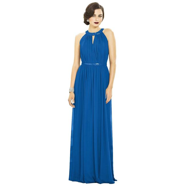 Item - Blue Polyester Collection Halter Style Formal Bridesmaid/Mob Dress Size 12 (L)
