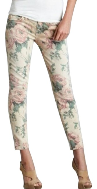 Item - Taupe Green Pink Light Wash  Stiletto Cropped Floral Print Skinny Jeans Size 30 (6, M)