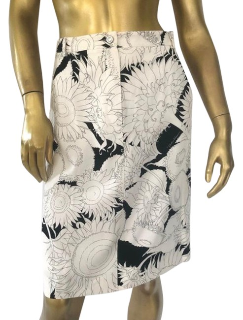 Item - Black and White Floral Print Pencil Skirt Size 6 (S, 28)