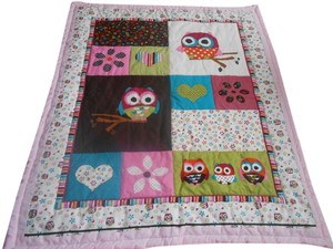 Other pink baby handmade owl quilt