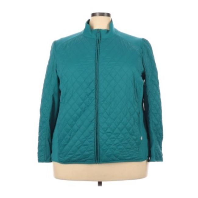 Item - Blue Lightweight Quilted Zip Up Jacket Sweater 3x Coat Size 26 (Plus 3x)