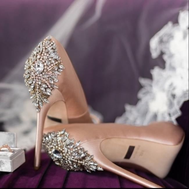 Item - Pink Latte Kiara Crystal Peep Toe Platform Heel Satin Pumps Size US 8.5 Regular (M, B)