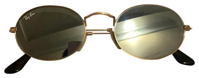 Item - Gold/Silver Flash Oval Flat Lenses Sunglasses