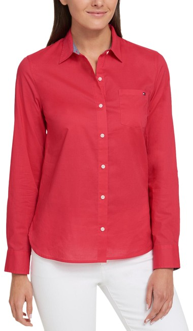 Item - Coral Cotton Roll-tab Shirt Button-down Top Size 16 (XL, Plus 0x)