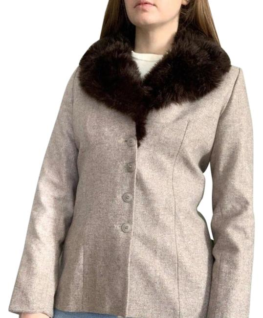 Item - Beige Wool with Faux Fur Collar Coat Size 8 (M)