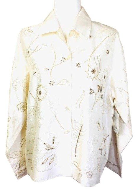 Item - Cream Beaded Embroidered Silk Tunic Pants~parsley Pant Suit Size 12 (L)