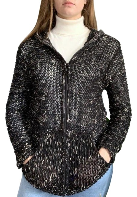 Item - Black And White Braided Weaved Hoodie Jacket Size 12 (L)