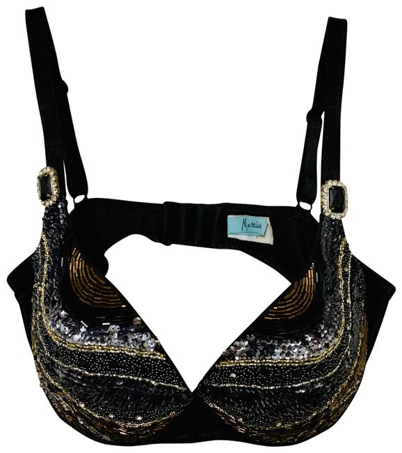 Item - Black/Brown/Silver Beaded Crystals Activewear Sports Bra Size 14 (L)