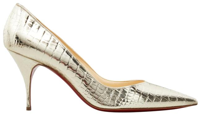 Item - Gold Clare 80 Cocco Metallo Platine Croc Stiletto Pointed Heel Pumps Size EU 37.5 (Approx. US 7.5) Regular (M, B)