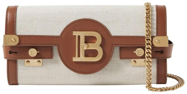 Item - Shoulder B-buzz 23 Leather-trimmed Beige Canvas Cross Body Bag