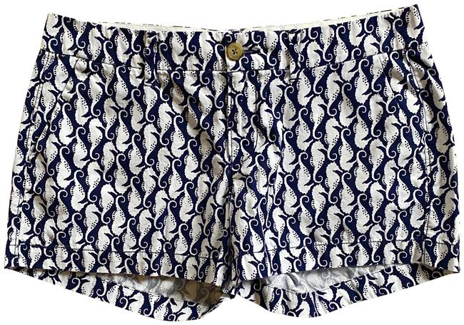 Item - Multicolor White Navyblue Seahorse Patterned Casual Cotton Shorts Size 4 (S, 27)