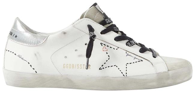 Item - White Superstar Distressed Leather and Suede Sneakers Size EU 37 (Approx. US 7) Regular (M, B)