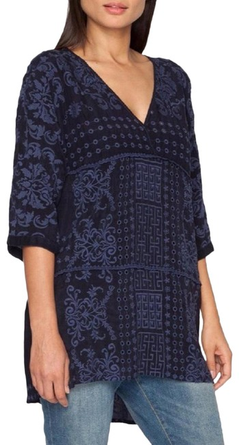 Item - Blue Ramos Embroidered Half Sleeve Tunic Size 2 (XS)