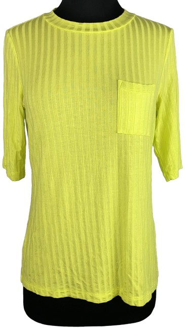Item - Yellow Striped Chest Pocket Rayon Blend Casual Tee Shirt Size 4 (S)