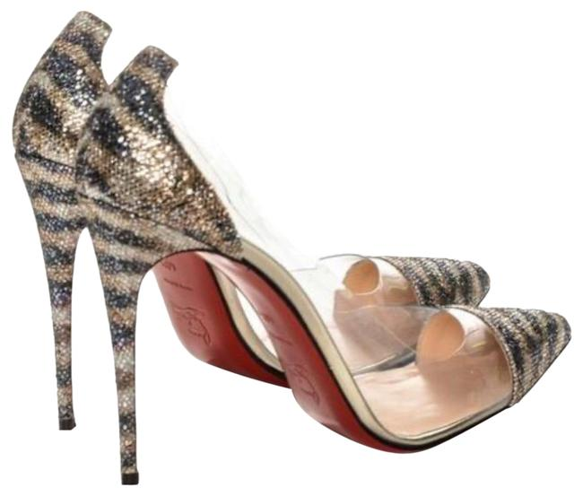 Item - Gold and Silver Glitter with Pvc 4 Inch Stiletto Heel Formal Shoes Size EU 37 (Approx. US 7) Regular (M, B)