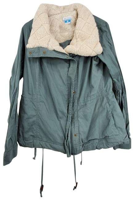Item - Green Faux Fur Lined Utility Jacket Size 12 (L)