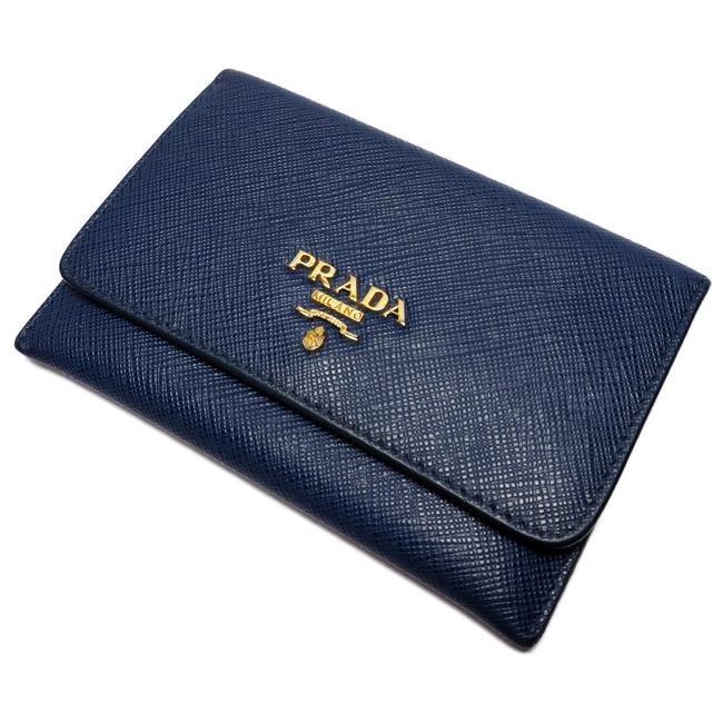 Item - Blue Saffiano Card Case Pass Business Holder Ladies Leather Wallet