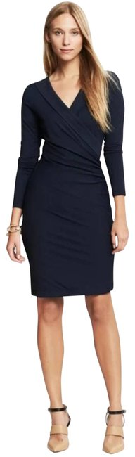 Item - Black Faux Wrap Ruched Work/Office Dress Size 0 (XS)