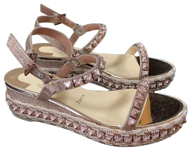 Item - Gold Pyraclou Courtisaine Rose Wedge Sandals Size EU 39 (Approx. US 9) Regular (M, B)