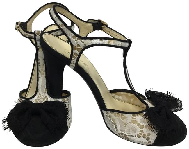 Item - Off White Cream Lace T Strap with Black Lace Bows Pumps Size EU 37.5 (Approx. US 7.5) Regular (M, B)