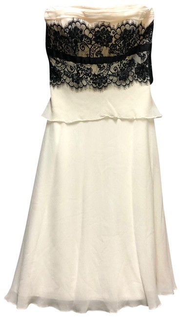 Item - White Black Lace Trim Strapless Silk Mid-length Night Out Dress Size 4 (S)