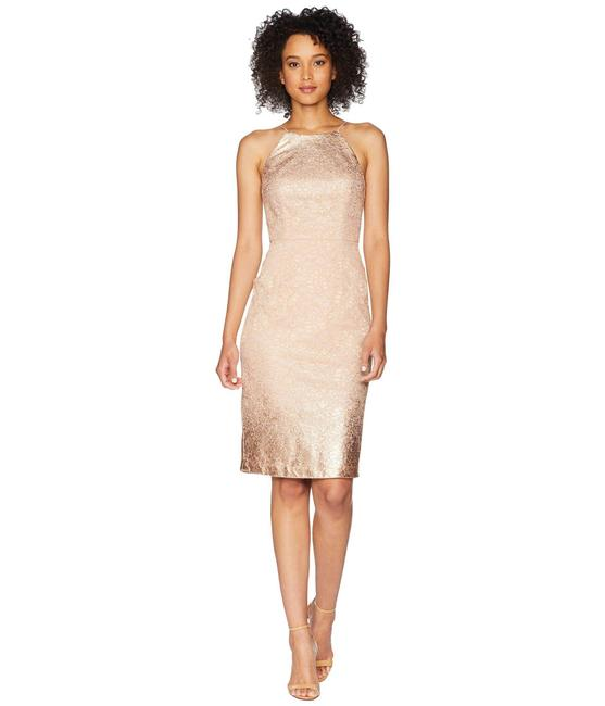 Item - Rose Gold Lace Sheath Halter Cut Midi Mid-length Cocktail Dress Size 14 (L)