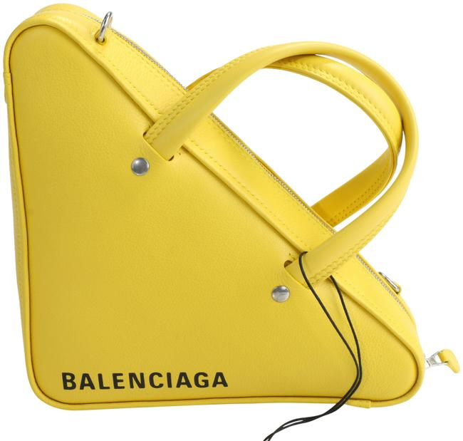 Item - Duffle Triangle S Yellow Calfskin Leather Shoulder Bag