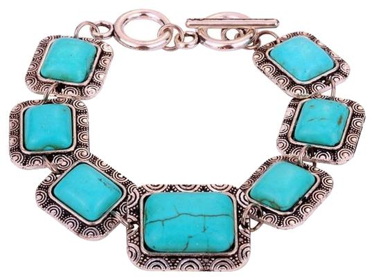 Yazilind Yazilind Handmade Ethnic Tibetan Silver Rectangle Turquoise Bracelet Bangle