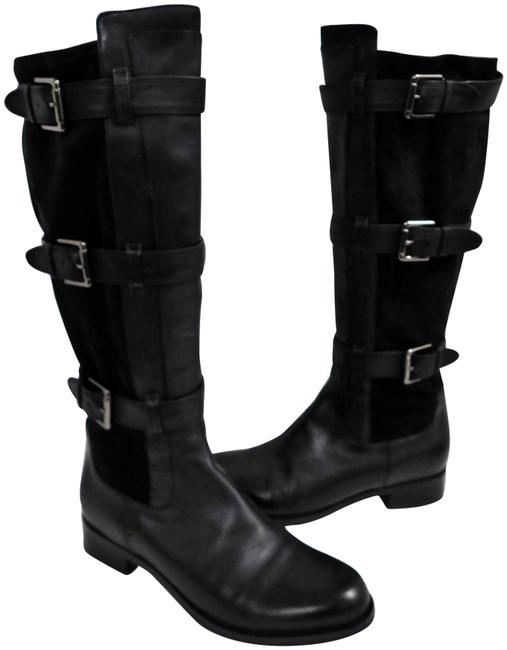 Item - Black Leather Suede Buckle Tall Riding Boots/Booties Size US 8 Regular (M, B)