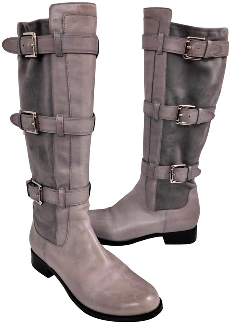Item - Gray Leather Suede Buckle Tall Riding Boots/Booties Size US 8 Regular (M, B)