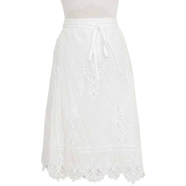 Item - White XL Cotton Voile Lace Inset A-line Drawstring Pull-on Skirt Size 18 (XL, Plus 0x)