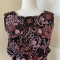 Tadashi Collection Vintage Glitter Fitted Black Pink Red Top Tadashi Collection Vintage Glitter Fitted Black Pink Red Top Image 2