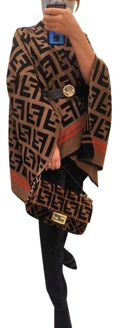 Item - Brown New Ff Zucca Print Wool Coat Poncho/Cape Size OS (one size)