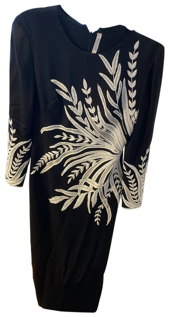 Item - Black White Hand Embroidered Long Night Out Dress Size 4 (S)