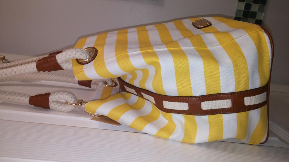 961c52352f5f9b ... Michael Kors Canvas Large Gold Accents Rope Anchor Grab Marina Tote in  Yellow White Striped.