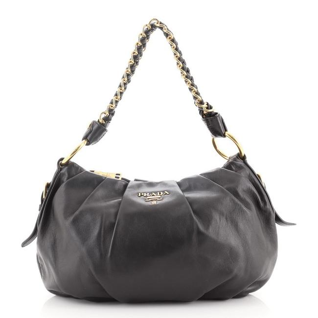Item - Lux Chain Strap Soft Calf Medium Black Leather Hobo Bag