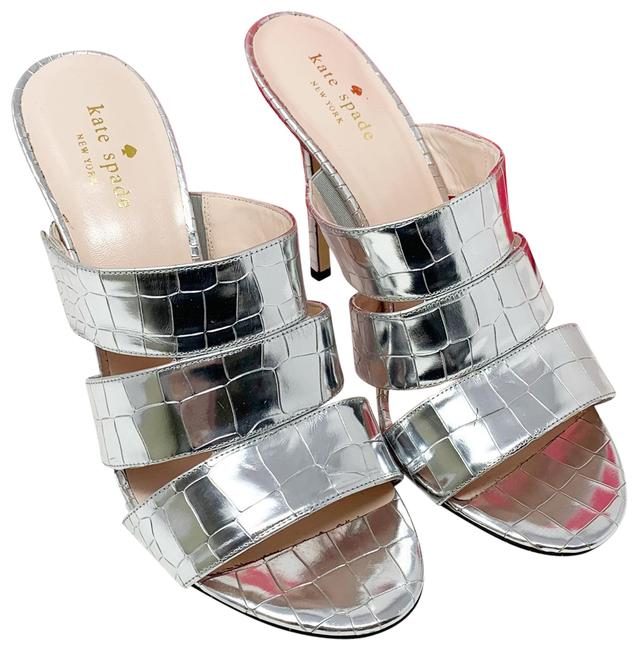 Item - Silver Fission Metallic Croc Mules/Slides Size US 10 Regular (M, B)