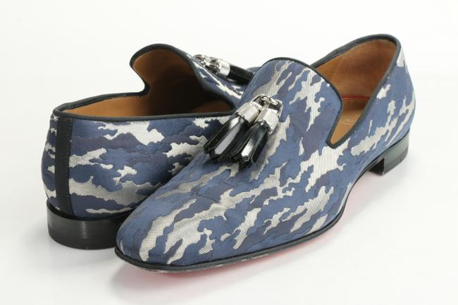 Item - Blue/Silver Rivalion Camo Jacquard Tassel Loafer Shoes