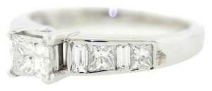 18k Solid White Gold .56ct F-G I1 Princess Cut Diamond Wedding Engagement Ring
