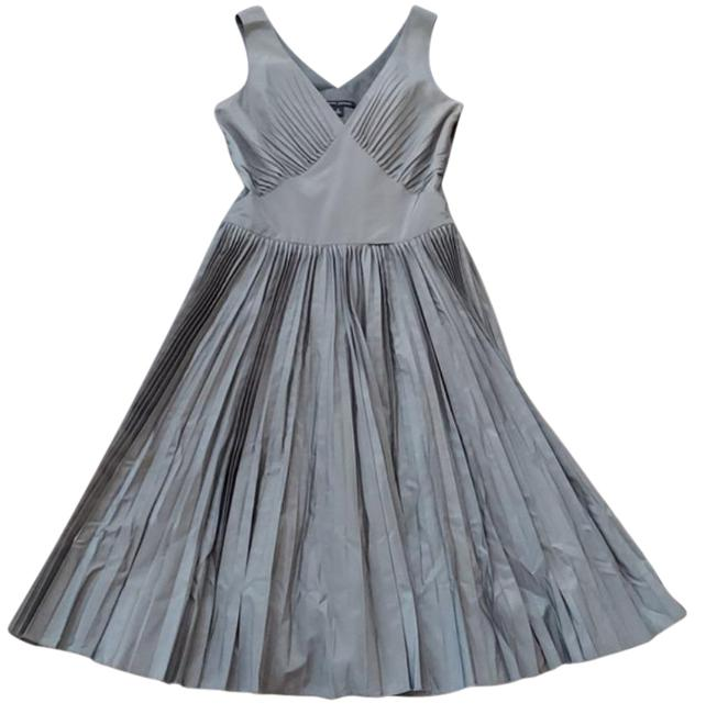 Item - Grey Silk Blend Pleated Mid-length Night Out Dress Size 4 (S)