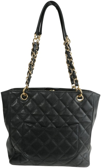 Item - Shopping Caviar Quilted Petit Pst Black Leather Tote