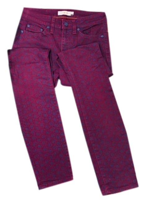Item - Red Blue Burgundy Printed Skinny Jeans Size 24 (0, XS)