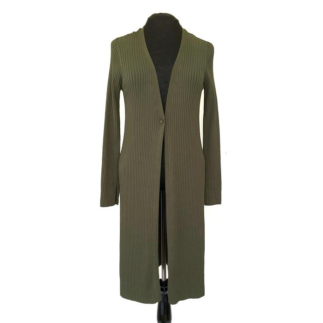 Item - Olive Green Long One-button Knit Cardigan Coat Size 10 (M)